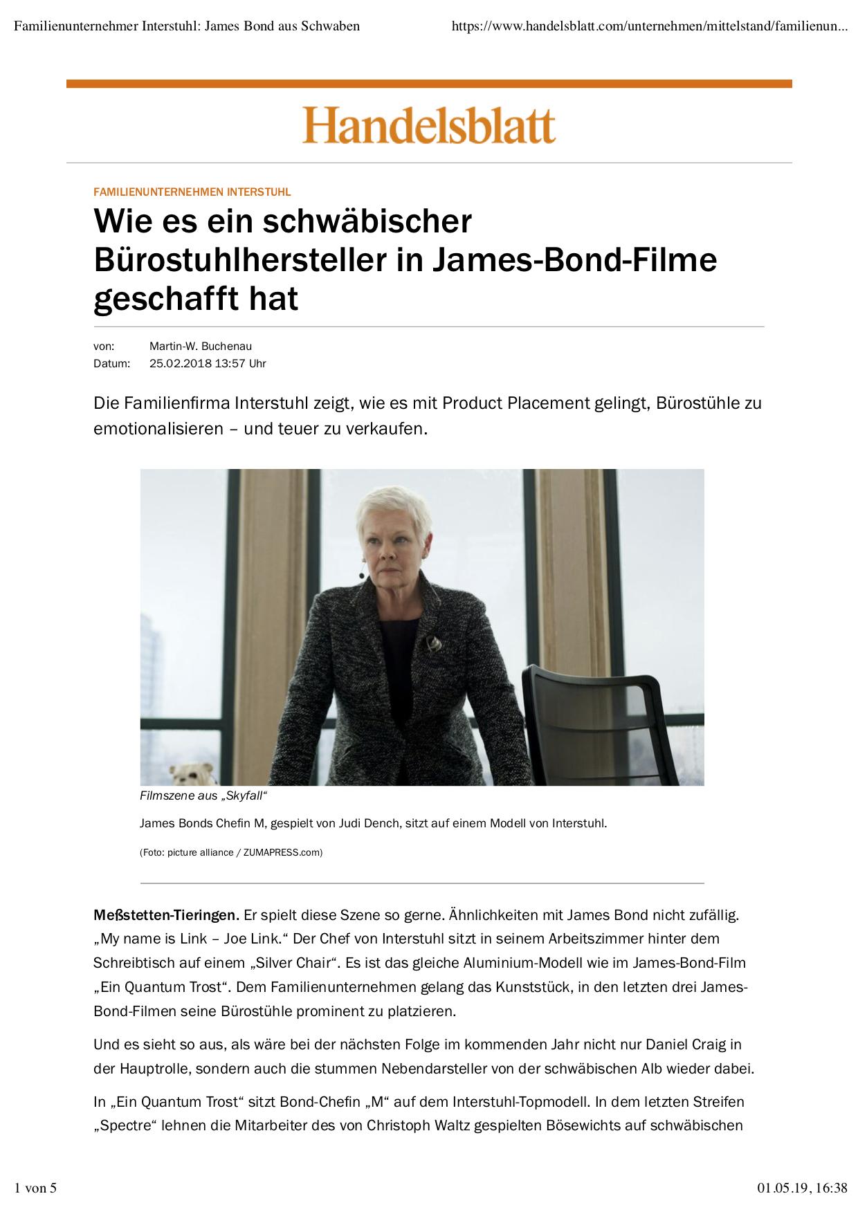 James Bond Product Placement Interstuhl